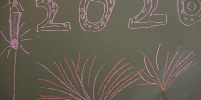 Es leuchtet und knallt zum neuen Jahr 2020 in der Klasse 2b mit einem Feuerwerk!  Frohes neues Jahr!