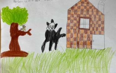 """Die ELMARs der Klasse 2a malen zu """"Peter und der Wolf"""":"""