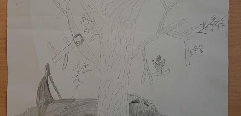 Kunstprojekt Klasse 4b: Bleistiftzeichnungen: Tiere im Winter