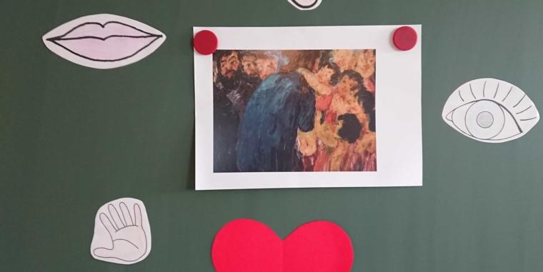 Jesus segnet die Kinder Bildbetrachtung des Bildes von Emil Nolde und Nachmalen des Bildes in der 1. Klasse im Religionsunterricht